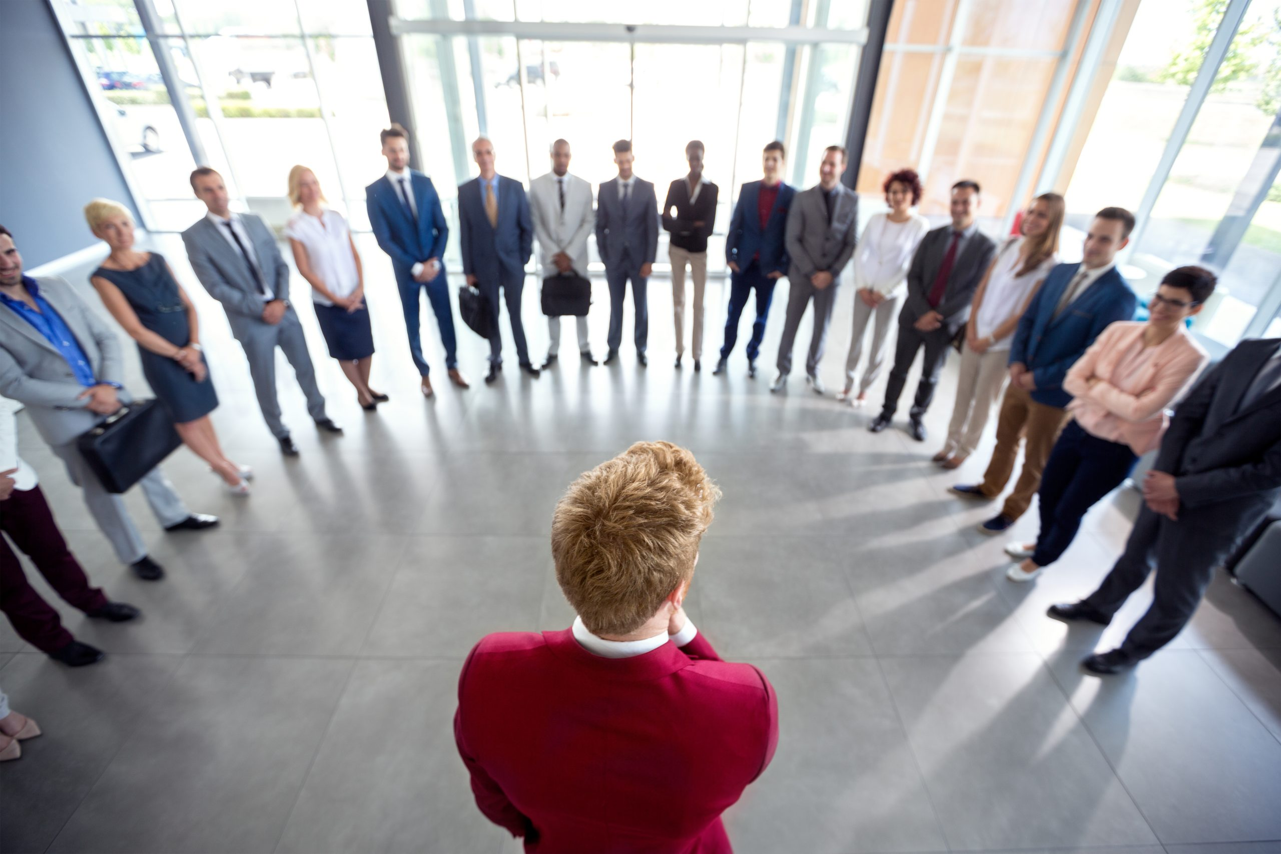 Leader encourage his team and congratulate them on success